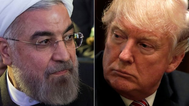 Iranian President Hassan Rouhani, left, said Sept. 20, 2017 it would be a 'great pity' if the 2015 nuclear deal between Iran and world powers including the U.S. 'were to be destroyed by rogue newcomers.' He was referring to U.S. President Donald Trump, right.