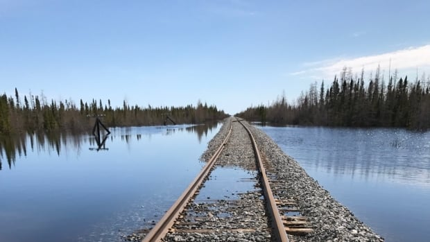 This section of the Hudson Bay Railway line is just one of 24 areas between Gillam and Churchill, Man., that were made impassable in July because of flooding.