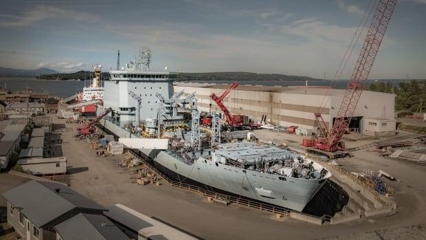 The MV Asterix, the navy's planned temporary supply ship, is pictured at the Chantier-Davie Shipyard in Levis, Que., in early July. The contract to lease the vessel to the federal government is at the centre of an RCMP investigation into the leak of cabinet secrets.