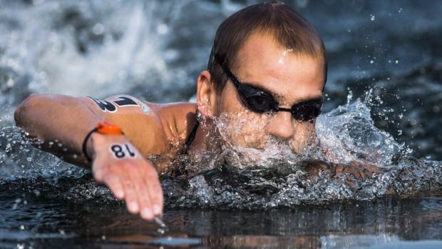 Richard Weinberger, shown in this 2015 file photo, was part of the Canadian open water relay team that placed 11th on Thursday in Hungary.