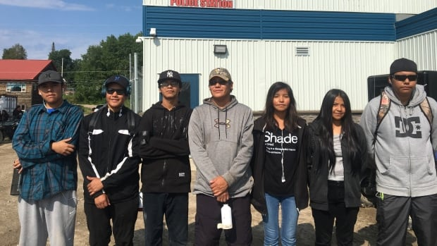 'When people followed my idea, it made me proud, happy,' says Ezekiel Turtle, far right, with his friends who helped out grieving families in Pikangikum. From left: Alwin Peters, Josh Turtle, Francis Peters, Julian Turtle, Brianna Owen and Jaylene Strang.