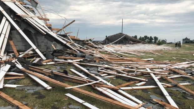 The curling rink in Strongfield, Sask., was destroyed by strong winds July 20.