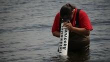 Bras d'Or Lake volunteer from the Atlantic Coastal Action Program