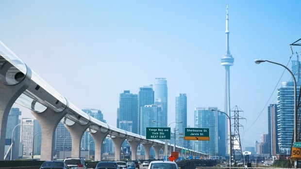 An artist's rendering of a hyperloop on a track leading to downtown Toronto. A pitch for a hyperloop linking Toronto and Montreal via Ottawa is among 10 winners of a global challenge.