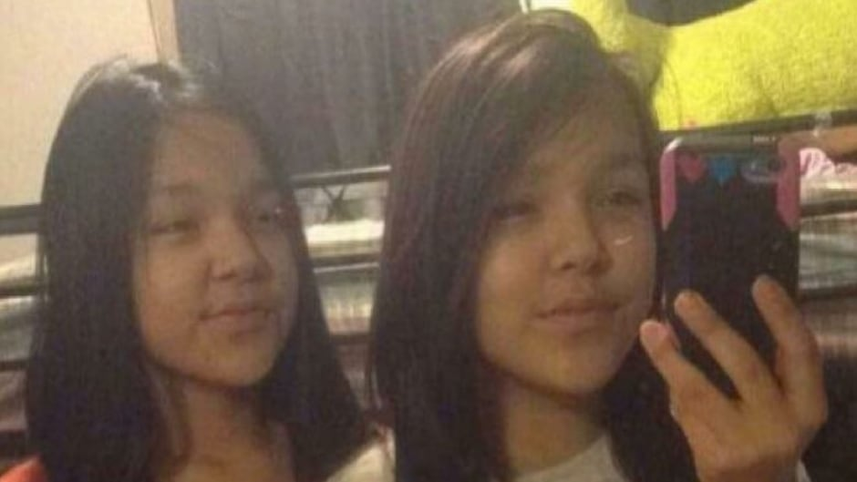 Twelve-year-old Chantell Fox, left, of the Wapekeka First Nation died by suicide in January of 2017. She is pictured with her twin sister. Chantell took her life two days after the suicide of her friend, Jolynn Winter, also 12.