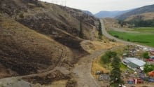 Burned hillside Highway 97, north of Cache Creek