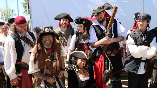 Pirate enthusiasts got together at the Quebec City port, where tall ships are docked as part of the Tall Ships Regatta.