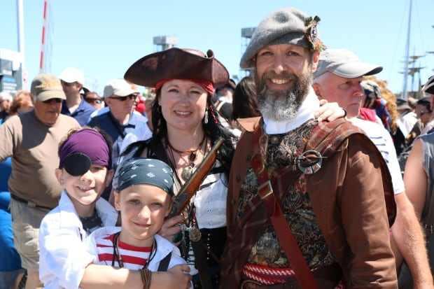scottish pirate and family at quebec city port tall ships