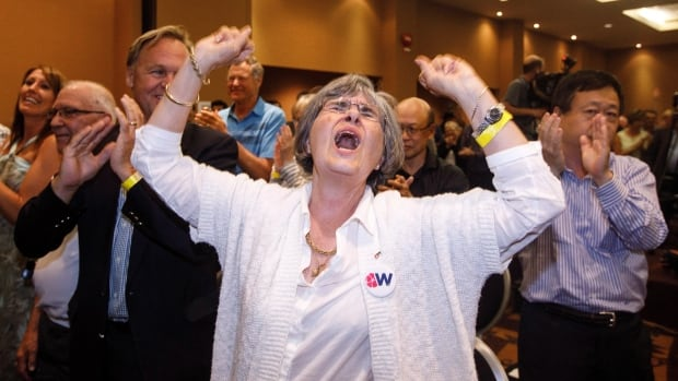 Wildrose supporters celebrate after officials announced 95 per cent of members voted in favour of uniting with Progressive Conservatives to form the new United Conservative Party.