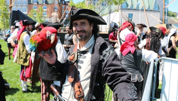 pirate with a parrot quebec city tall ships