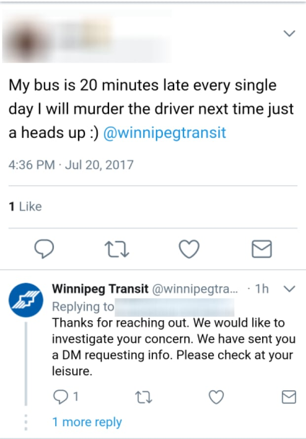 Winnipeg Transit screenshot threat on Twitter