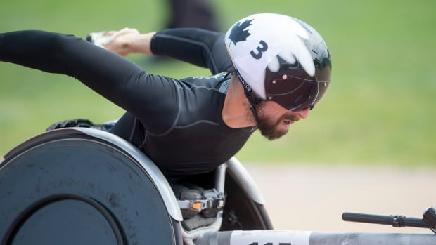 Brent Lakatos, seen competing in a race earlier this season, collected his fourth gold of the 2017 world para athletics championships in London on Sunday by winning the T53 100-metre event.