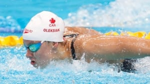 Watch Penny Oleksiak at the swimming world championships