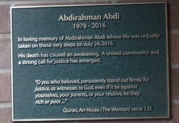 Abdirahman Abdi plaque unveiled July 24, 2017