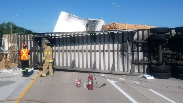 Highway 402 westbound was closed at Highay 40 Tuesday, July 25, 2017, after a tractor-trailer slammed into a row of idling trucks waiting to cross the Blue Water Bridge in Sarnia.