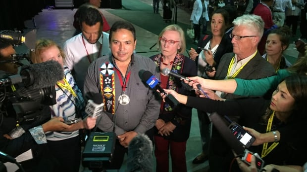 AFN National Chief Perry Bellegarde and Indigenous Affairs Minister Carolyn Bennett speak to reporters after announcing changes to Canada's funding policy for First Nations on Tuesday.