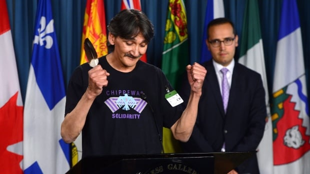 Jerry Natanine, community leader and former mayor of Clyde River, gestures after the Supreme Court quashed seismic testing for oil in Nunavut.