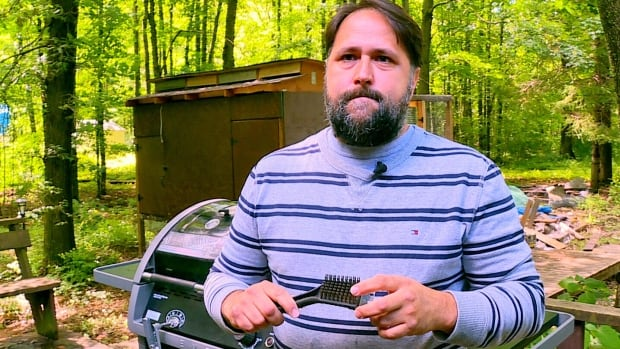 Dan Bova says a bristle from one of his BBQ brushes ended up lodged in his throat.