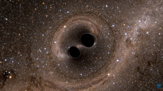 Two black holes, the product of the destruction of a massive star, spin, move and collide with one another.