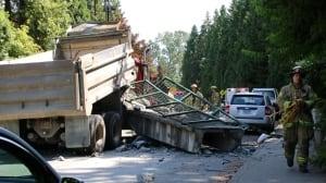 Dump truck destroys Burnaby pedestrian overpass