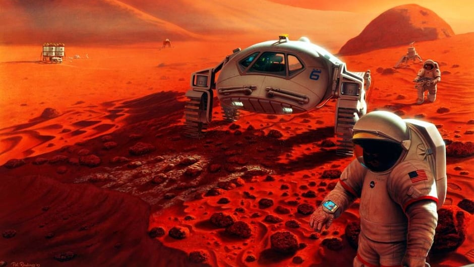 Illustration of two explorers on Mars. NASA is working to make such a vision a reality by the late 2030s.