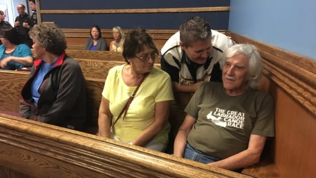 Some of the five protesters that were jailed at her Majesty's Penitentiary appear in a Happy Valley-Goose Bay Supreme Court room last week.