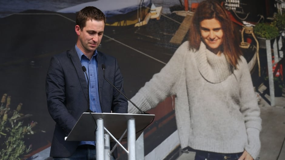 Widower of murdered Labour MP Jo Cox, Brendan Cox, speaks at an event to celebrate Jo Cox's life in Trafalgar Square, central London, on June 22, 2016, on what would have been Jo's 42nd birthday.
