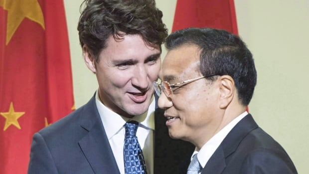 Prime Minister Trudeau hosted Chinese Premier Li Keqiang in Montreal last September. The federal government wants Canadians to express their goals and concerns as part of broad consultations on a possible trade deal with China.