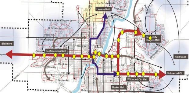 preliminary map of Saskatoon BRT route