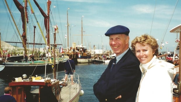Nancy Timbrell-Muckle with her late father Robert Timbrell in Dover, UK at the 60th anniversary celebrations for the evacuation of Dunkirk on June 4, 2000. Some of the crafts used in the evacuation are pictured in the background.