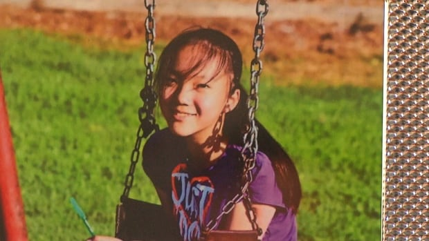 A photo of Marrisa Shen on display at her funeral service in Vancouver. The body of the 13-year-old was found in Central Park, Burnaby, on July 18, 2017.