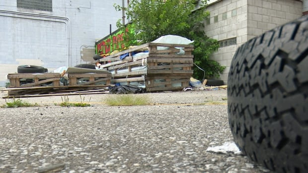 Tires and trash litter a back alley off of Dufferin Place in downtown Windsor.