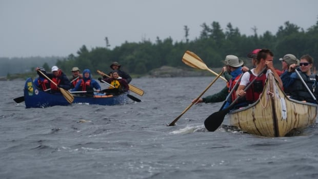 The Canadian Canoe pilgrims paddle up the Georgian Bay from Midland, Ont., to the French River.