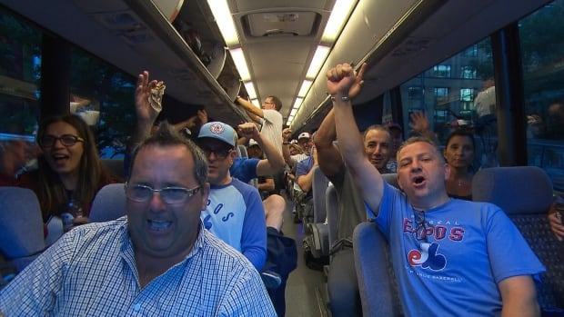 Expos fans chant and clap as they head to Cooperstown, N.Y., for the induction of beloved former left fielder Tim Raines into the Baseball Hall of Fame.