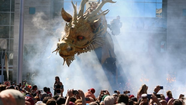 Long Ma, a 45-ton, 12-metre tall mechanical dragon-horse, took part in a four-day urban theatre performance in Ottawa this past summer.