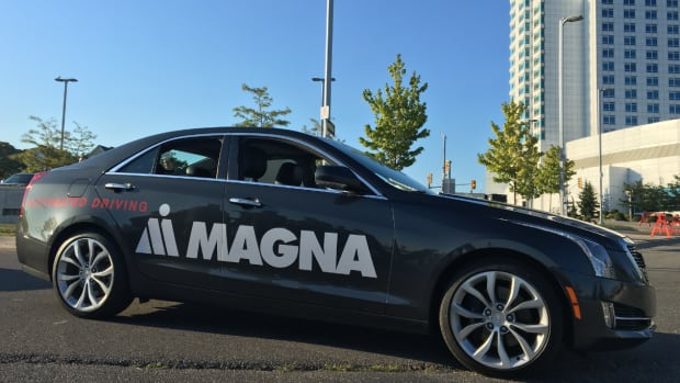 This Level 3 autonomous car from Magna is one of two vehicles used to test at border crossings. Drivers are able to take their eyes of the road, their hands off the steering wheel and feet off the pedals thanks to sensors.
