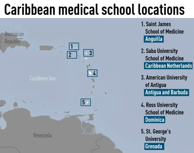 Locations of the five most popular Caribbean med schools