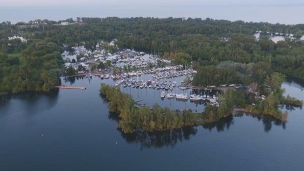 A bird's-eye view of Toronto Island Marina and Sailing Club.