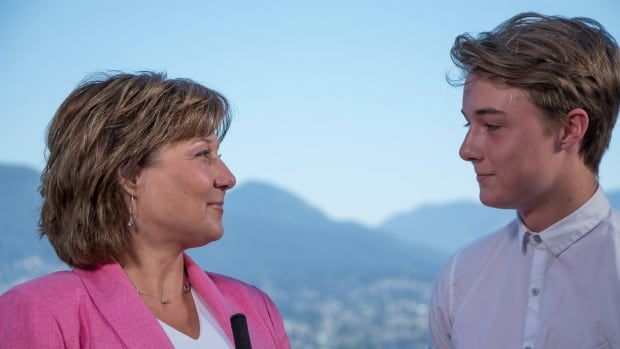 """'It's going to be cool,"""" said Christy Clark's son, Hamish Marissen-Clark, about his mother's resignation from politics."""