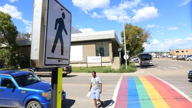 Just over a week after it was installed, Fort McMurray's pride sidewalk has been defaced with tire marks.
