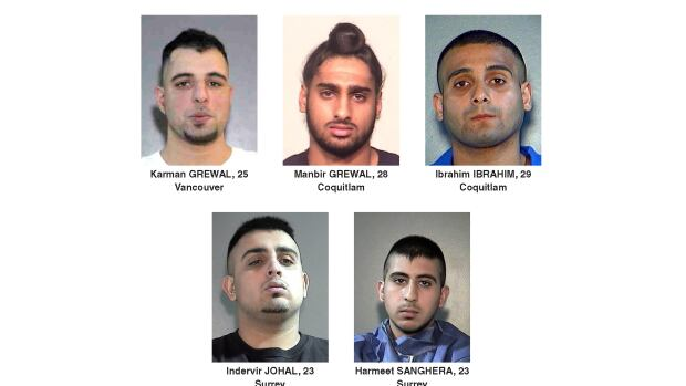 Surrey RCMP have released photos of five men who have been the targets of recent shots fired incidents in Surrey.
