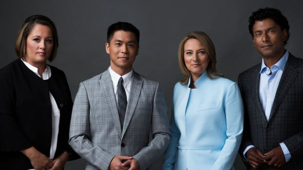 The National will feature a quartet of new hosts, from left to right, Rosemary Barton, Andrew Chang, Adrienne Arsenault and Ian Hanomansing.