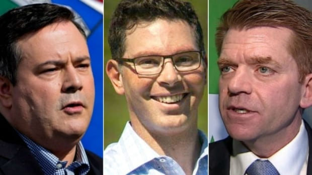 Running for the leadership of Alberta's new United Conservative Party are former MP and Alberta PC party leader Jason Kenney, Calgary lawyer Doug Schweitzer, and former Wildrose leader Brian Jean.