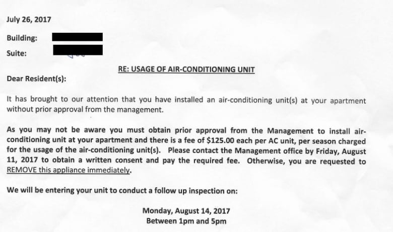 Are air conditioning fees for renters the new normal? | CBC News