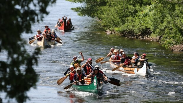 Paddlers battling a 'swift' (a zone of fast-running water) on the French River.