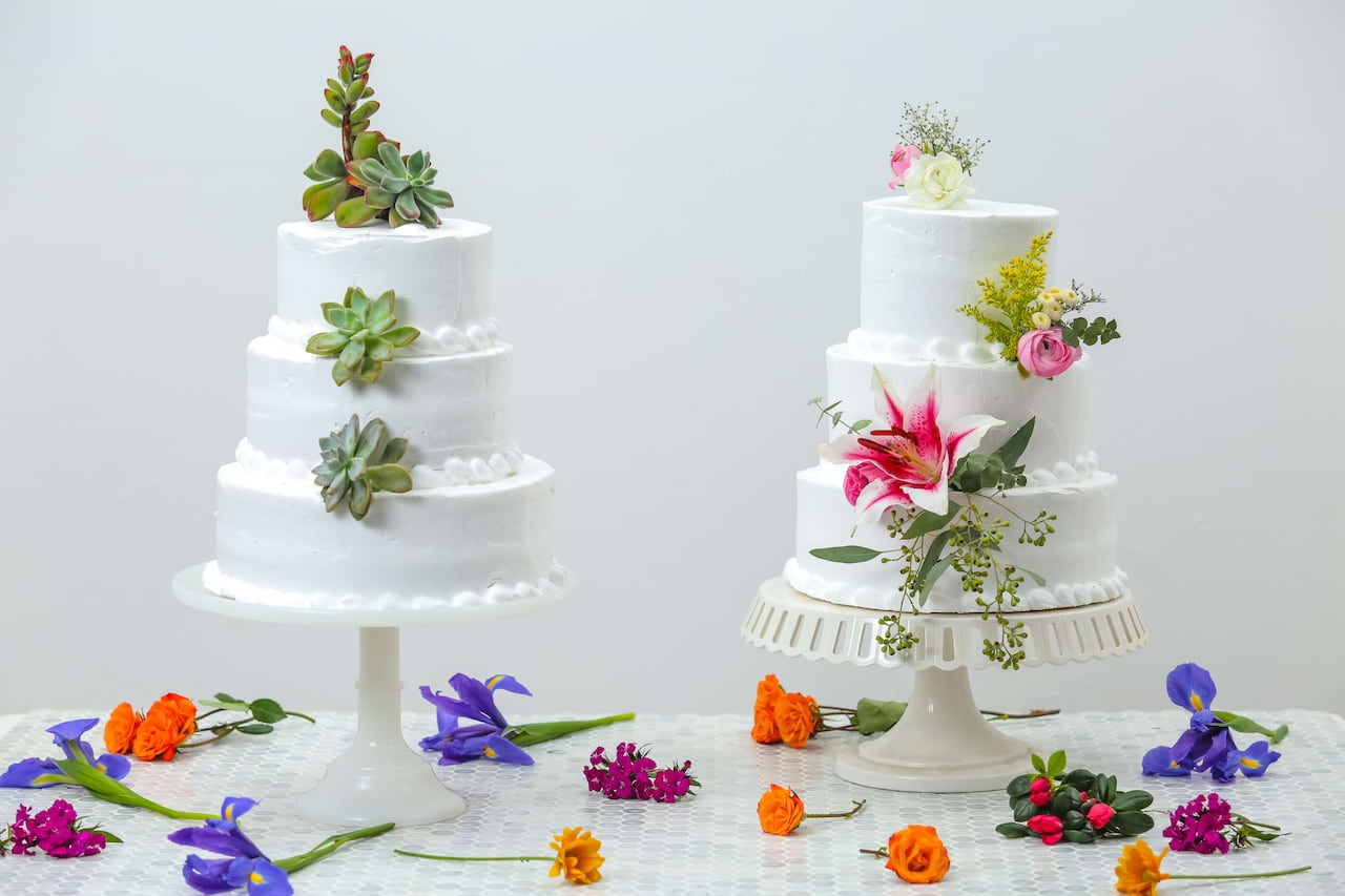 Easy Diy Fresh Floral Or Succulent Wedding Cake Toppers
