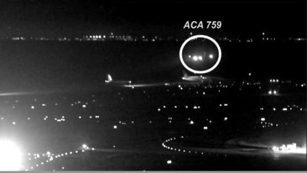 "The National Transportation Safety Board has released photos taken from San Francisco International Airport video showing the July 7 ""near miss"" when Air Canada Flight 759 came close to landing on a taxiway with four airplanes on it instead of on the runway."