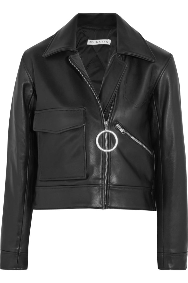 60ab0edb85 A cropped black leather jacket is the kind of classic piece that works well  with just about everything—swimsuits included.