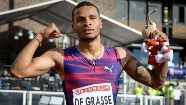 Andre De Grasse of Canada celebrates winning at the IAAF Athletics Diamond League Men's 100 metres in Stockholm Stadium last month. He faces at least five weeks of rehab after straining a hamstring muscle.