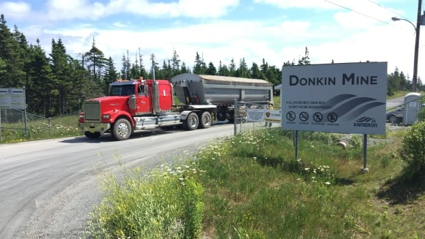 A truck leaves the Donkin Mine in Cape Breton on Aug. 3, 2017.